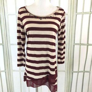 French Laundry Striped Tunic Top  Size Small